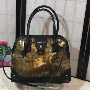 London Fog gold and black satchel